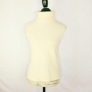 Escada Cream Knit Wool Turtle Neck Sweater Vest